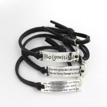 Custom Stainless Steel Leather Bracelet Fashion Jewelry