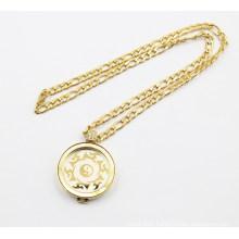 Gold Plating Coin Badge Floating Locket Necklace