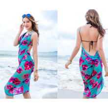 2017 new design indian indonesia style floral chiffon bali sarong multi color dual use beach pareo