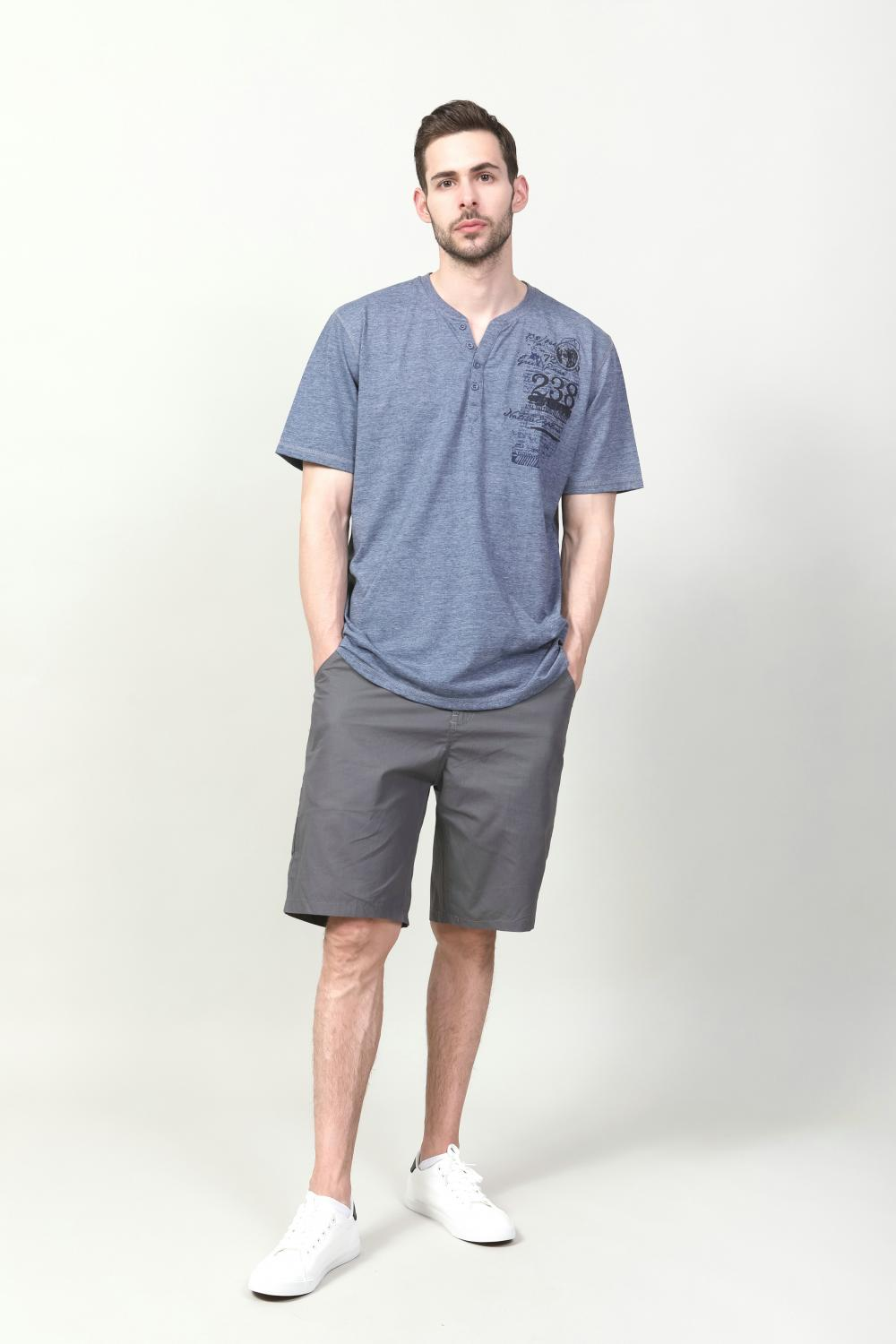 Men's Knit Navy melange T-shirt