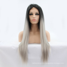 """24"""" Long Ombre Tone Dark Root Straight Synthetic Lace Wig Fashion Ladies Heat Resistant Synthetic Lace Wig"""