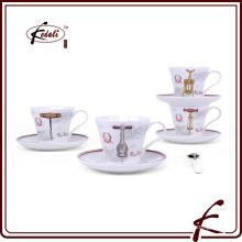 Patrones de decalque tazas de cerámica y platillos para el té de café