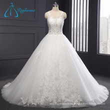 Tulle simple elegante encaje Appliques Sexy vestido de novia blanco