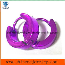 Acero inoxidable estilo clásico joyería púrpura pendientes