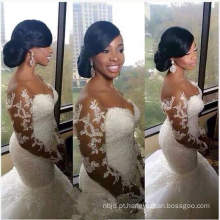 2017 New Luxury Sexy Deep V Vestido de casamento China Mermaid Wedding Gown Long Sleeve