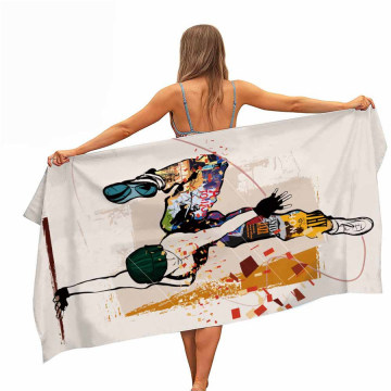 Beach Towel with Hip Hop Street Dance Pattern, Easily Fits a Couple