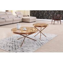 Modern Titanium+Marble Coffee Table