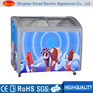 Commercial Sliding Glass Door Ice Cream Chest Freezer