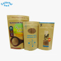 El OEM al por mayor se levanta la bolsa de papel de ziplock de Kraft con la ventana clara para el empaquetado del té