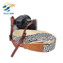 Courroie molle de ceinture d'épaule de caméra de style ethnique de MicroFiber avec des extrémités de peau de vache