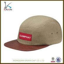 chapeaux personnalisés à 5 panneaux sans capuchon minimal en cuir de peau de serpent avec logo tissé