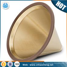 Hario jarra de café filtro de filtro / titânio revestido de ouro derramar sobre gotejador cone