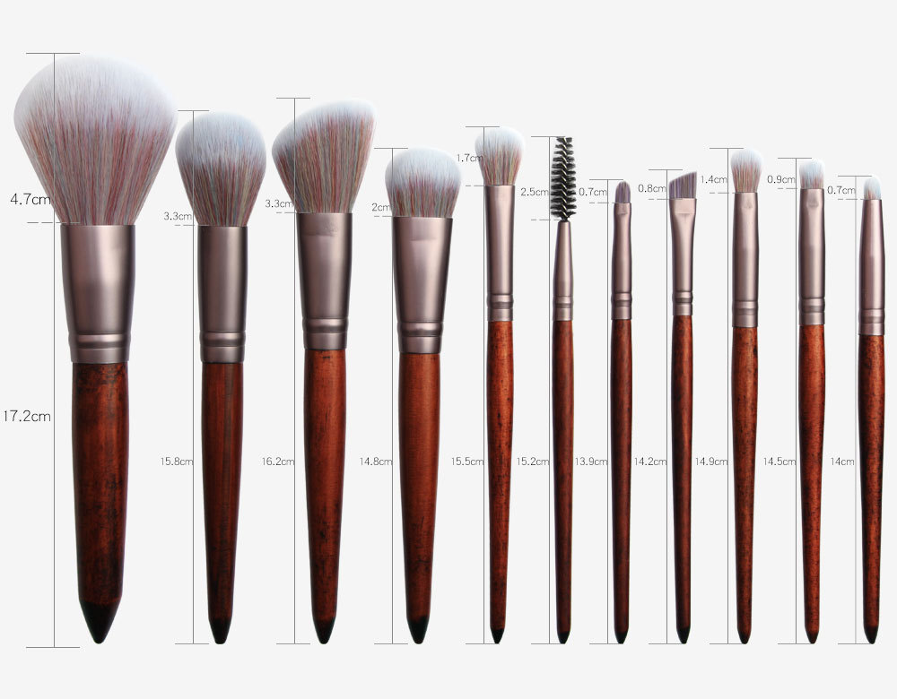 11 Piece Animal Hair Makeup Brush size