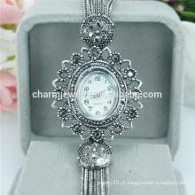 Última moda de luxo fancy esqueleto liga relógio de pulso para as mulheres B024