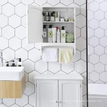 Rangement d'armoires de salle de bain blanc chaud