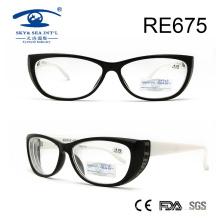 Vidrios de lectura plásticos del diseño del marco negro clásico (RE675)