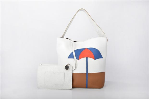 New Women Genuine Leather Handbags Bucket Shoulder Bag