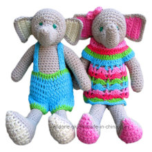 Hand Knit Crochet Elephant Amigurumi Toy