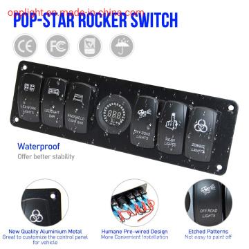 6 Gang Boat Marine Rocker Switch Panel