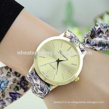 Vogue flor tela banda de tela de cuarzo señora característica reloj
