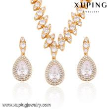 63858 Xuping fashion dubai ensemble de bijoux de mariée en or