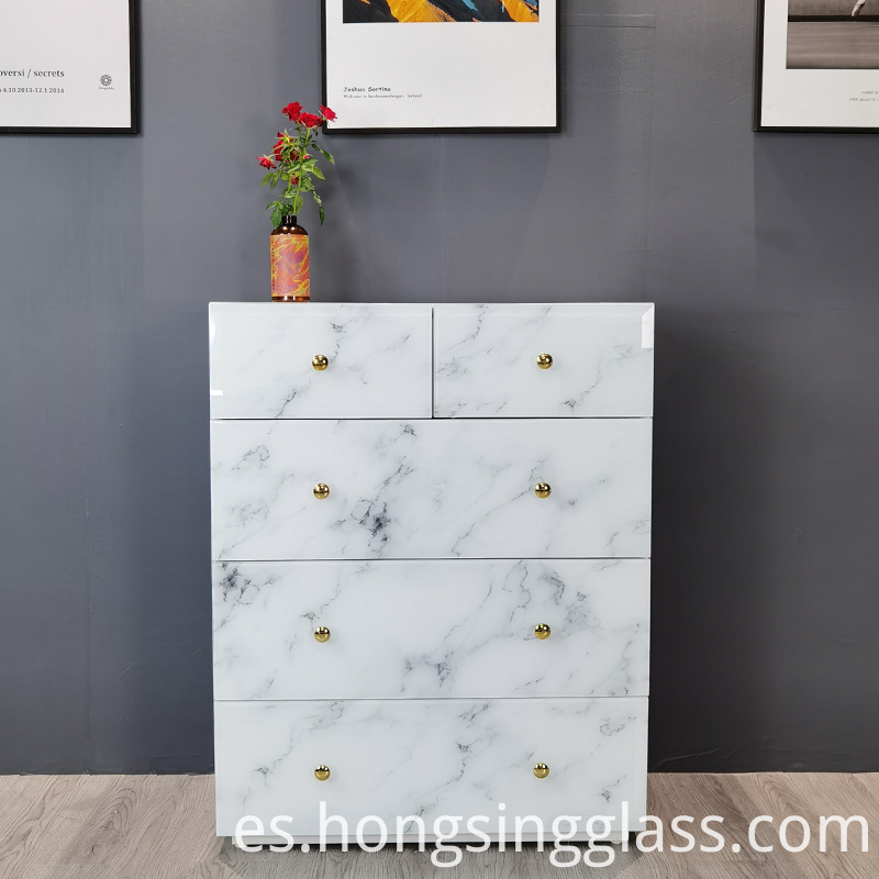 superwhite glass marble pattern 5 drawer chest