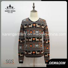 Suéter de navidad de renos de manga larga para hombre, acanalado
