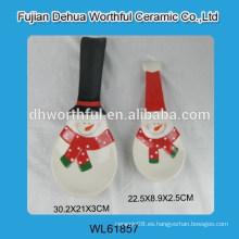 Sostenedor de cuchara de cerámica de Navidad con diseño de muñeco de nieve