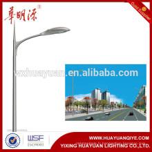 Poteau rond d'éclairage de rue en acier galvanisé avec bras simple ou double bras