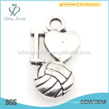 Turkish funky silver I love volleyball charm jewelry