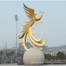 decoração exterior morden estilo grande metal phoenix estátuas para venda