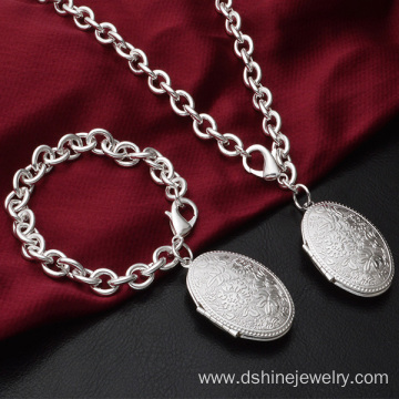 925 Sterling Silver Egg Shaped Pendant Chain Necklace Choker