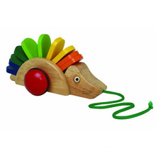 Baby Cute Wooden Pull Rolling-along Hedgehog Toy