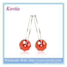 Boucle d'oreille pendentif en perles en cristal sterling 925 en gros boucles d'oreille