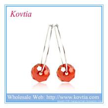HIGH end 925 sterling silver crystal bead pendant hoop earring