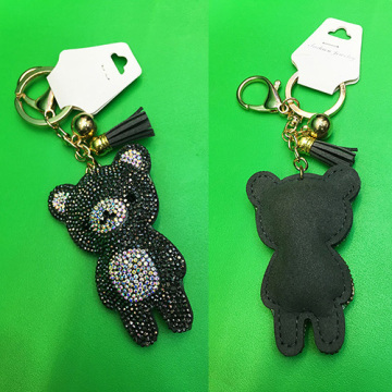 Cute Cartoon Bear Pendant Multicolor Leather Diamond Keychain