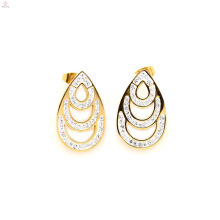 Latest stainless steel gold crystal earrings stud,gold water drop stud jewelry