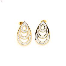 Mais recente de aço inoxidável brincos de cristal de ouro stud, gold water stud stud jewelry