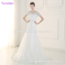 Free shipping Wedding Dresses Beaded Crystals with Short Cap Sleeves Shining Sequines Lace Mermaid Bride Dress