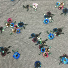 2020 Colorful Flowers Bead And Sequin Embroidery Fabric