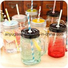 Стеклянная кружка / чашка для питья с крышкой, Mason Jar