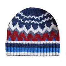Chapeau de laine bonnet tricoté jacquard tricoté à la main en laine douce et extensible (HW426)
