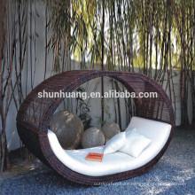 Arm hand woven wide rattan furniture villa wicker sun bed