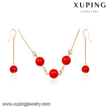 64012 Xuping newest rounded red pearl necklace simple charm design gold plated jewelry sets, hot sale products