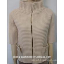 Mulheres 3GG Cashmere / casaco de costela de lã 2015
