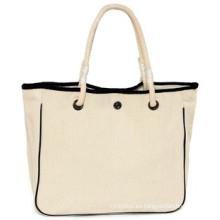 Bolsa de tela de algodón con mango de cadena para las mujeres