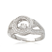 Mode 925 Silber Ring mit Tanzen Diamond Micro Einstellung