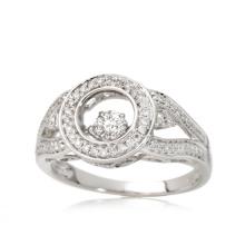 Fashion 925 Silver Ring with Dancing Diamond Micro Setting