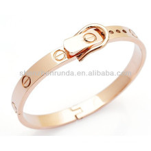 Belt shape fashion bangle rose gold plated stainless steel women's men's unisex bracelet bangle jewellery manufacturer