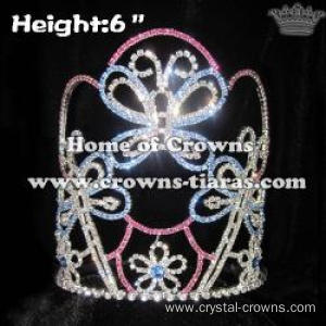 6in Height Crystal Butterfly Pageant Spring Crowns